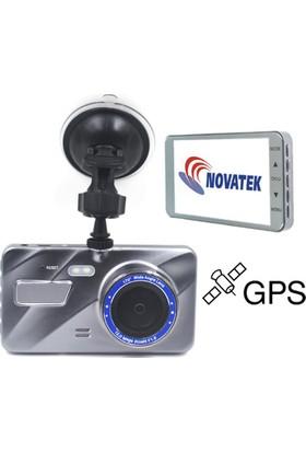 Novatek NT400G GPS 128GB Hafıza Kartı Destekli LDWS Şerit İhlal Uyarısı FCWS 170 Derece 12MP 4 İnç IPS Ekran Metal Kasa Flash Işıklı Türkçe Full HD 1080p Araç İçi GPS Kamerası