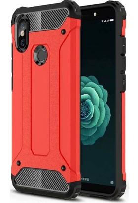 Case 4U Xiaomi Mi 6X Kılıf Çift Katman Zırh Koruma Tank Arka Kapak - Kırmızı
