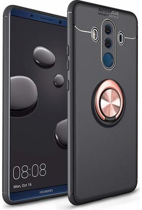Case 4U Huawei Mate 10 Pro Kılıf Yüzüklü Darbeye Dayanıklı (Mıknatıslı Araç Tutucu Uyumlu) Siyah - Rose Gold