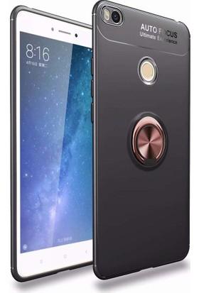 Case 4U Xiaomi Mi Max 2 Kılıf Yüzüklü Darbeye Dayanıklı (Mıknatıslı Araç Tutucu Uyumlu) Siyah - Rose Gold