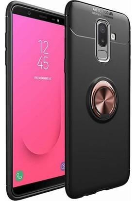 Case 4U Samsung Galaxy J8 Kılıf Yüzüklü Darbeye Dayanıklı (Mıknatıslı Araç Tutucu Uyumlu) Siyah - Rose Gold