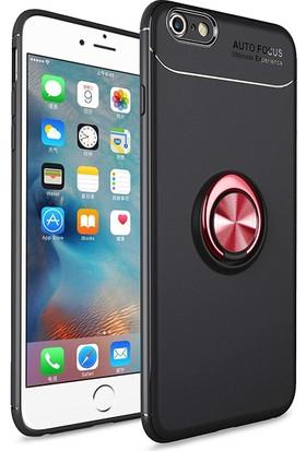 Case 4U Apple iPhone 6-6S Kılıf Yüzüklü Darbeye Dayanıklı (Mıknatıslı Araç Tutucu Uyumlu) Siyah - Kırmızı