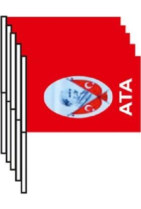 Buket Atalı Bayrak Sopalı Orta Boy 100 Lü Paket
