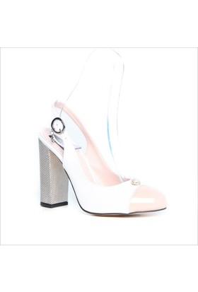 Kuum Bayan Topuklu Ayakkabı Beyaz 1311-15