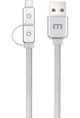 Meizu Micro USB ve Type-C 2'li Kablo (1.2 m) - Gümüş