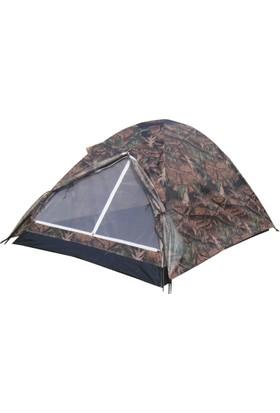 Gringo AE Kamuflaj 3 Kişilik Kaliteli Ortadan Pencereli Kamp Çadırı 200x150x110 CM