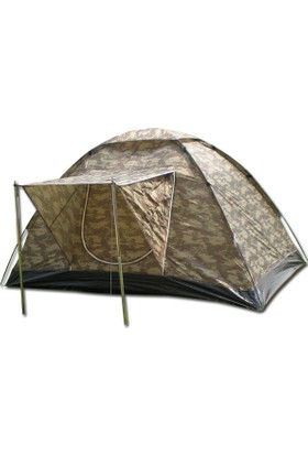 Gringo AE Kamuflaj 6 Kişilik Güneşlikli Ortadan Pencereli Kamp Çadırı 250x220x150 CM