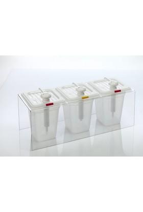 Gastroplast Ketçap Mayonez Hardal Pompası Standı Dispenser Şeffaf