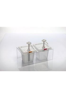 Gastroplast Ketçap Mayonez Pompası Dispenseri Standı İkili Şeffaf