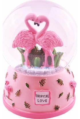 Buffer Flamingo Kurmalı Büyük Boy Kar Küresi Müzikli