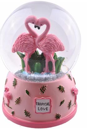 Buffer Pembe Flamingo Orta Boy Işıklı Müzikli Kar Küresi (B)