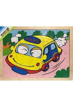 Woody 20 Parça Ahşap Frame Puzzle - Sempatik Taksi