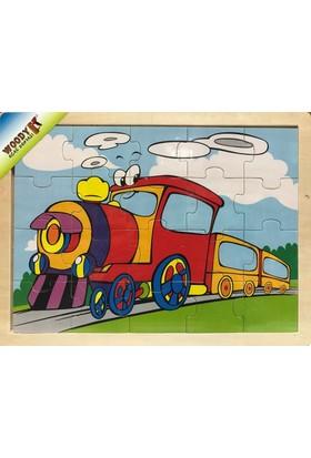 Woody 20 Parça Ahşap Frame Puzzle - Neşeli Tren