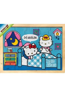 Woody Hello Kitty Zamanlar - İyi Geceler - 20 Parça Ahşap Frame Puzzle
