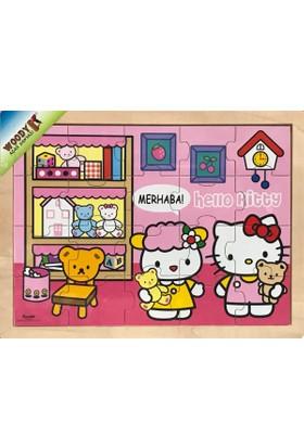 Woody Hello Kitty Zamanlar - Merhaba - 20 Parça Ahşap Frame Puzzle