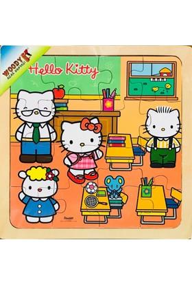 Woody Kız Çocuk Hello Kitty Okulda 16 Parça Tahta Kare Yapboz (25x25 cm)