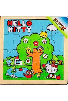 Woody Hello Kitty Piknikte 16 Parça Ahşap Kare Puzzle