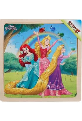 Woody Disney Princess 16 Parça Ahşap Kare Puzzle (Gökkuşağı)