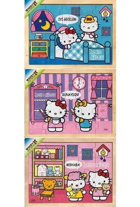 Woody Hello Kitty Zamanları Öğreniyor 3 Adet 20 Parça Ahşap Puzzle Seti