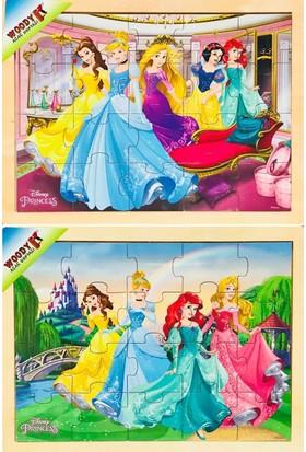 Woody Disney Prensesleri Kız Çocuk 2x20 Parçalık Yapboz Seti