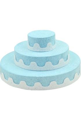 Kazanabil Üç Katlı Pasta Şeklinde Köpük Şeker ve Kurabiye Standı Mavi