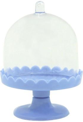 Kazanabil Fırfır Plastik Ayaklı Mika Fanus Mini Şeker Sunum Kabı Mavi