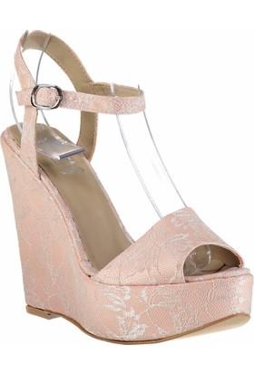 Pembe Potin Pudra Kadın Dolgu Topuklu Ayakkabı