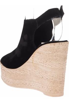 Pembe Potin Siyah Nubuk Kadın Dolgu Topuklu Ayakkabı
