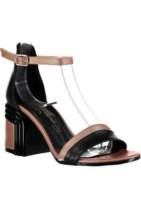 Pembe Potin Siyah Rose Kadın Topuklu Sandalet