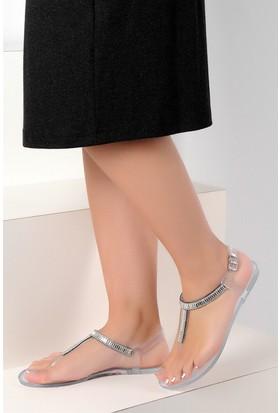 Pembe Potin Şeffaf Kadın Sandalet
