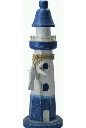 Gökçe Ahşap Deniz Feneri Otantik Dekoratif Hediyelik Büyük Boy