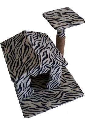Zebra Desenli Kedi Tırmalama ve Oyun Evi