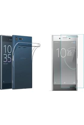 Case 4U Sony Xperia XZ Premium 0,3 Mm Ultra İnce Silikon Kılıf Şeffaf + Cam Ekran Koruyucu