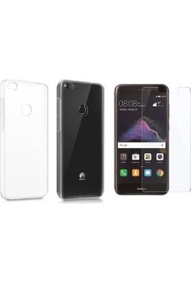 Case 4U Huawei P9 Lite 2017 Silikon Kılıf Şeffaf + Cam Ekran Koruyucu