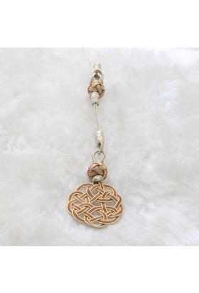 Saray Çarşısı 1000 Ayar Gümüş Turuncu Çiçekli Kazaz Püskül