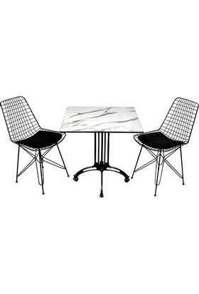 Arsayt 70 x 70 Beyaz Mermer Desenli Kompakt Masa + 2 Tel Sandalye