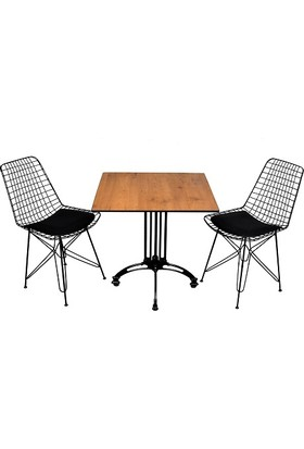 Arsayt 70 x 70 Ceviz Desenli Kompakt Masa + 2 Sandalye