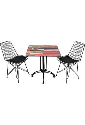 Arsayt 70 x 70 Kırmızılı Ahşap Parke Desenli Kompakt Masa + 2 Tel Sandalye