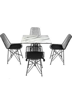 Arsayt 70 x 70 Beyaz Mermer Desenli Kompakt Masa + 4 Sandalye