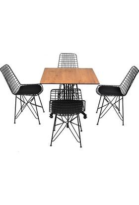 Arsayt 70 x 70 Ceviz Desenli Kompakt Masa + 4 Tel Sandalye