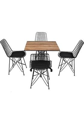 Arsayt 70 x 70 Açık Ceviz Desenli Kompakt Masa + 4 Tel Sandalye