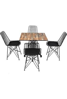 Arsayt 70 x 70 Ahşap Parke Desenli Kompakt Masa + 4 Tel Sandalye