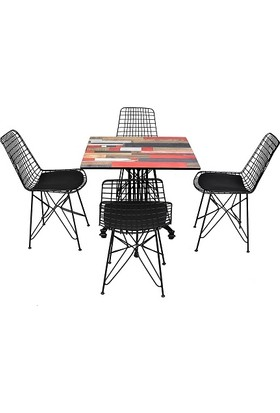 Arsayt 70 x 70 Kırmızılı Ahşap Parke Desenli Kompakt Masa + 4 Tel Sandalye