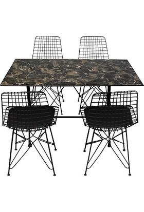 Arsayt 70 x 120 Siyah Mermer Desenli Kompakt Masa + 4 Sandalye