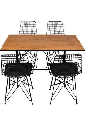 Arsayt 70 x 120 Ceviz Desenli Kompkat Masa + 4 Sandalye