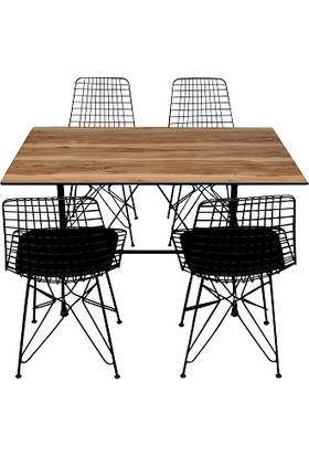 Arsayt 70 x 120 Açık Ceviz Desenli Kompakt Masa + 4 Sandalye