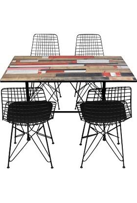 Arsayt 70 x 120 Kırmızılı Ahşap Parke Desenli Kompakt Masa + 4 Tel Sandalye