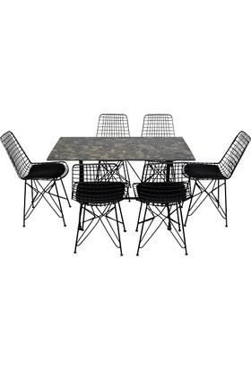 Arsayt 70 x 120 Siyah Mermer Desenli Kompakt Masa + 6 Tel Sandalye