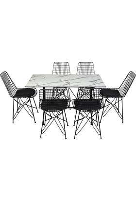 Arsayt 70 x 120 Beyaz Mermer Desenli Kompakt Masa + 6 Tel Sandalye