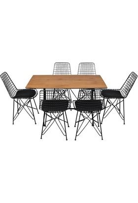 Arsayt 70 x 120 Ceviz Desenli Kompakt Masa + 6 Tel Sandalye